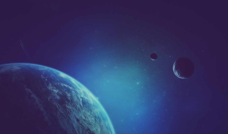 космос, арт, след, планета, спутники, картинка, синий, картинку, открытый,