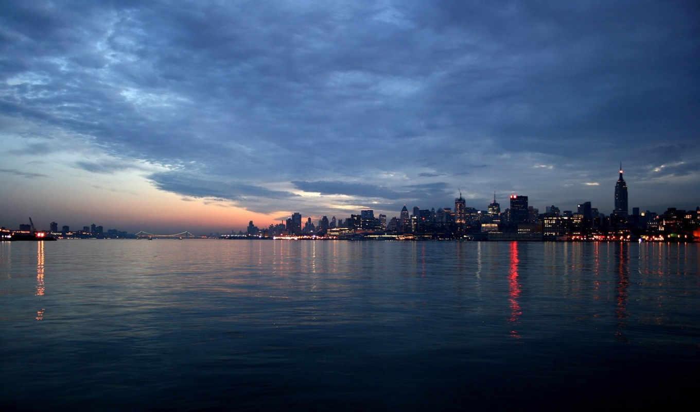 cityscape, dusk, image, landscape, панорама, вода, огни,