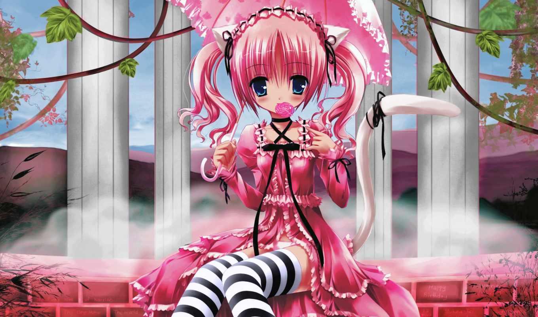 pink, neko, girls, изображение, арты, anime, lollipop, catgirl, ears, animal, edit, девочки, кошки, candy,