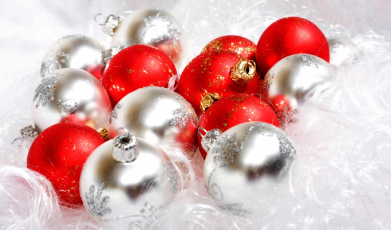 новый, год, праздник, белый, красный, шарики, christmas, ornaments, смотрите, tree,