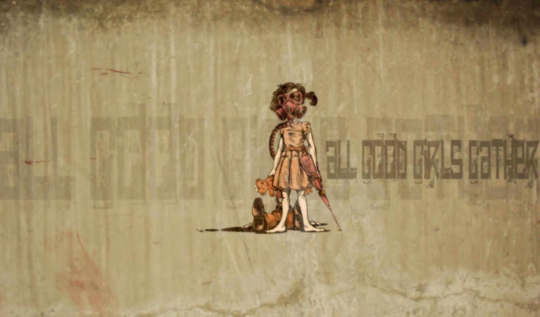 десктоп, девочка, мишка, граффити, bioshock, красивые, часть, абстрактные, смотрите, this, download,