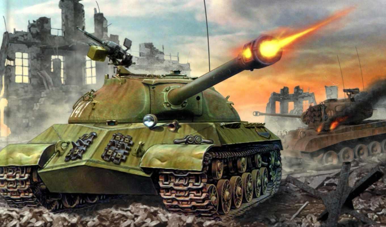 танк, war, развалины, shot,