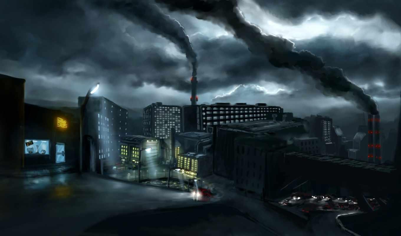 дым, город,