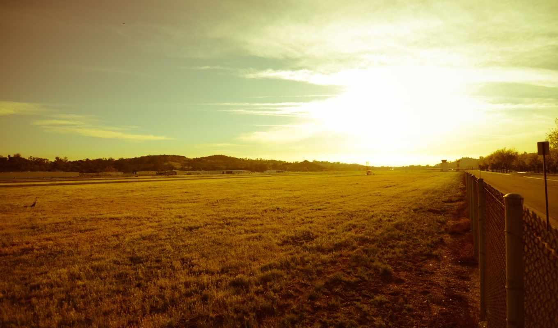 природа, трава, луга, landscape, забор,