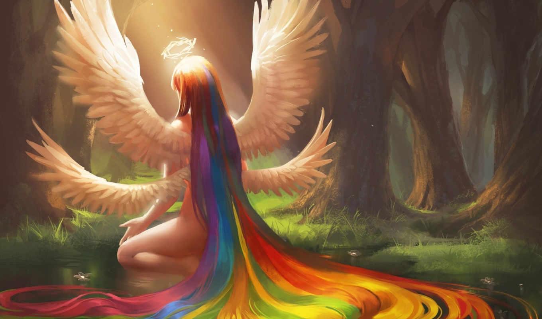 крылья, девушка, art, angel, sakimichan, halo, волосы, радуга, anime,