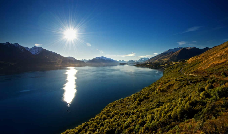 горы, zealand, новая, озеро, wakatipu, природа, new,