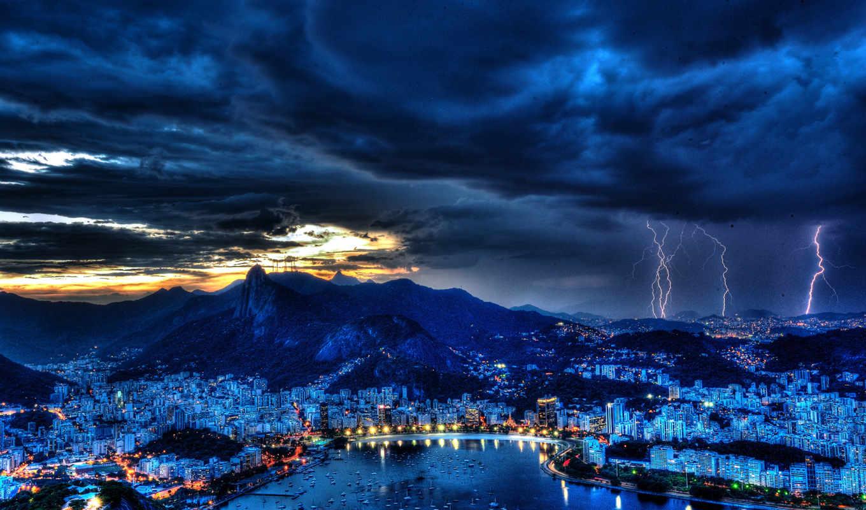 rio, janeiro, brazil, небе, fone, молнии, ночном,