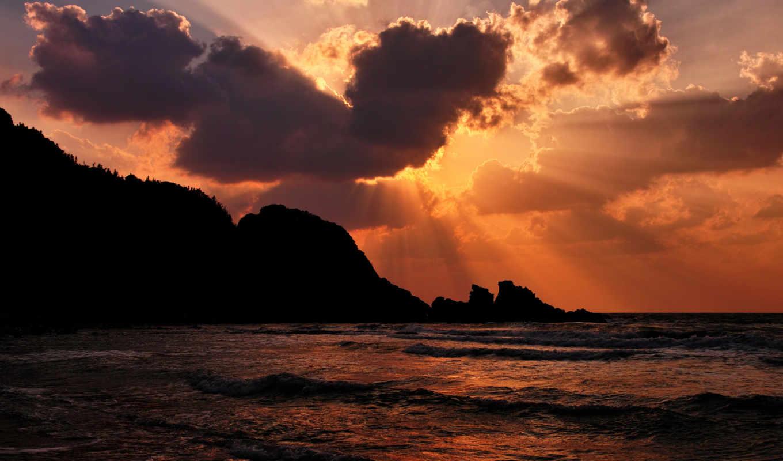 море, закат, пляж, волны, вечер, небо, oblaka, песок, sun,