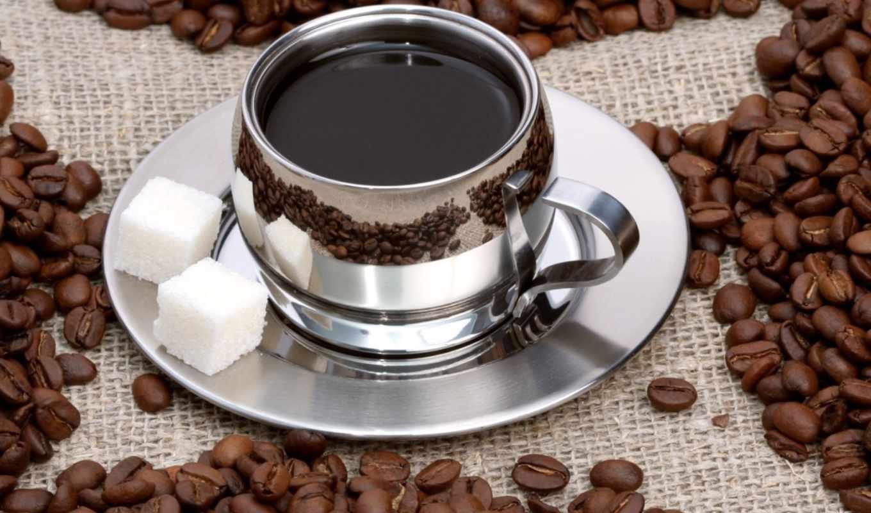 разное, кофе, зерна, чашка, напиток, горячий, декор, чашке, сахаром,