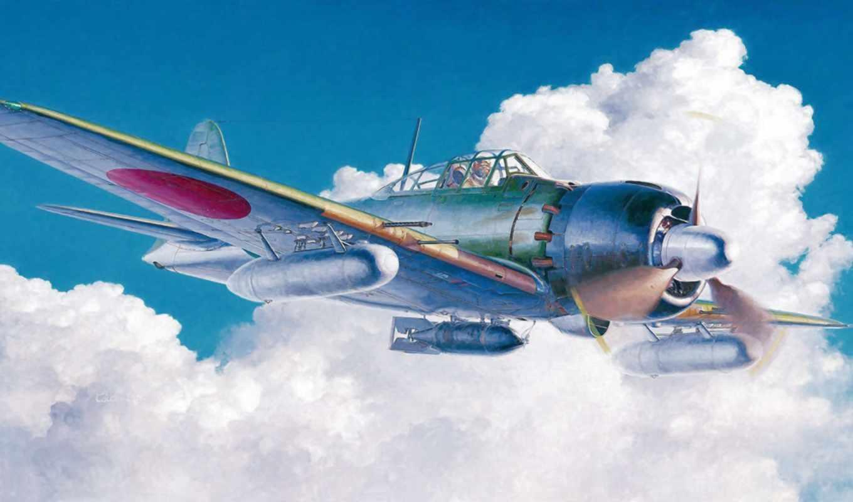 type, zero, mitsubishi, fighter, war, ww, japanese, airplane, art, yokosuka, flying,