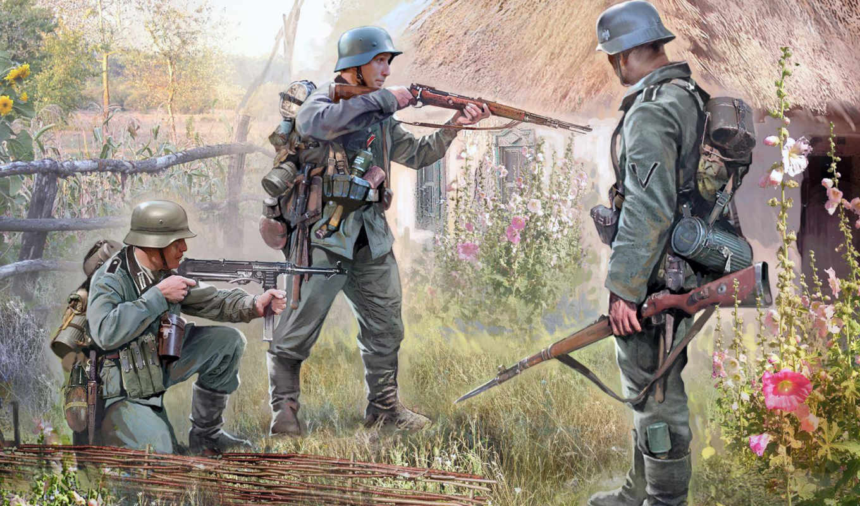 немецкая, пехота, звезда, набор,