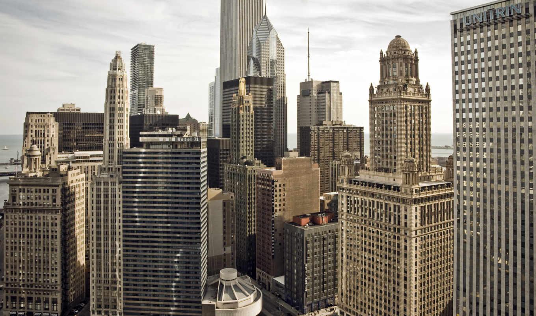 chicago, город, usa, высотки, иллинойс, картинка,