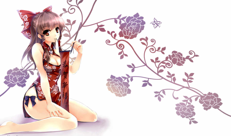 anime, touhou, цветы, девушка, иероглифы, art, hakurei, reimu, бант,