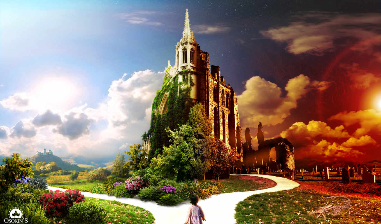 fantasy, world, мира, два, книги, фантастики, замки, магия, страницах,