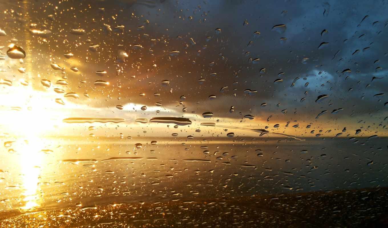 дождь, взгляд, капли, окно, закат,