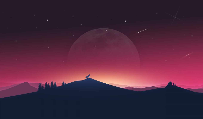 волк, атмосфера, illustration, горизонт, ночь, landscape, вектор, природа, космос, картинка, закат