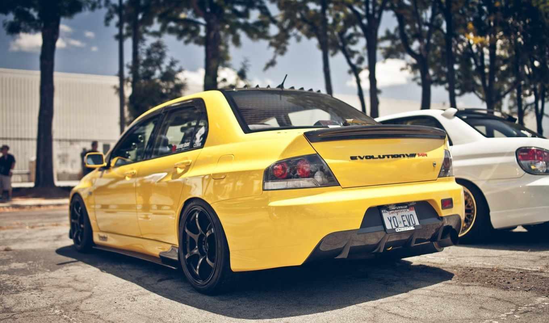 машина, желтая,
