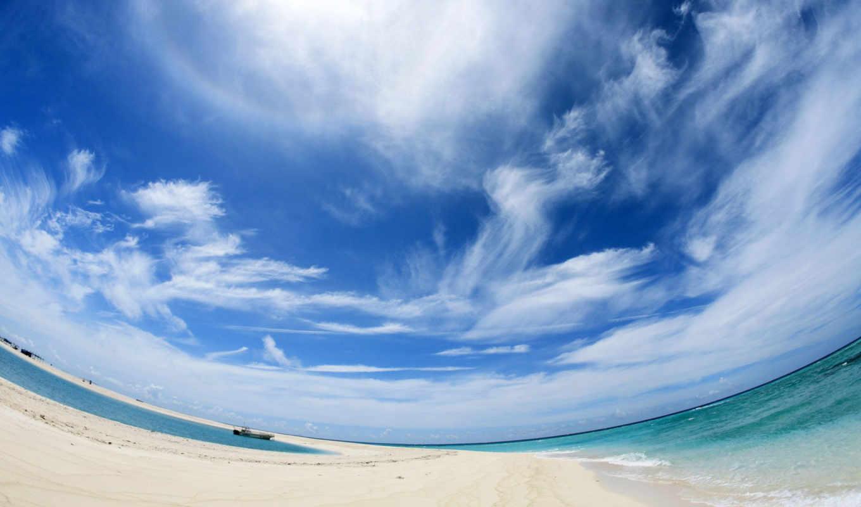 небо, море, панорама, облака, неба,