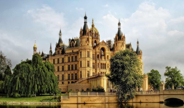 германия, замок, взгляд, деревя, munich, шверин, water,