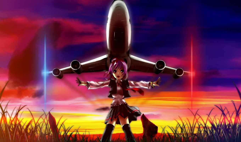 anime, девушка, art, закат, sun, самолёт,