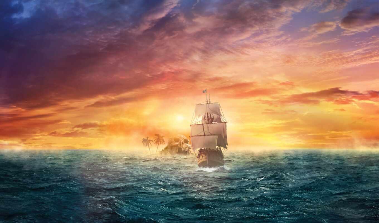 корабль, фотообои, хороший, череп, фея, пиратский, сниматься, огонь, туман, zedge