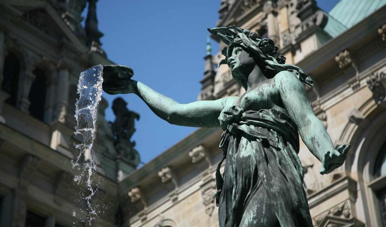 статуя, фонтан, германия, вода, женщина, hd, широкоформатные, to,