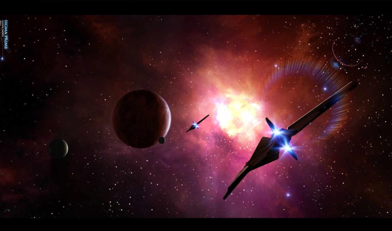 планета, космос, корабли, космические, арт, картинка,