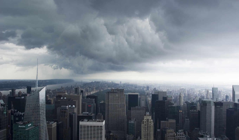 нью, йорк, сша, new, manhattan, usa, clouds, storm, nyc,