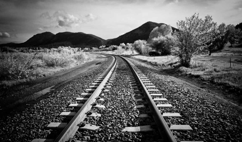контакты, дорога, чёрно, железная, белое, full, рельсы, горы,