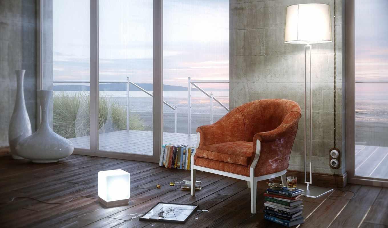 окна, комната, кресло, обстановка, часть, лампа, книги,