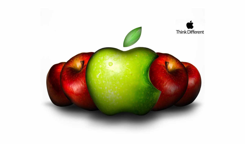 apple, лого, яблоки, зелёный, красный