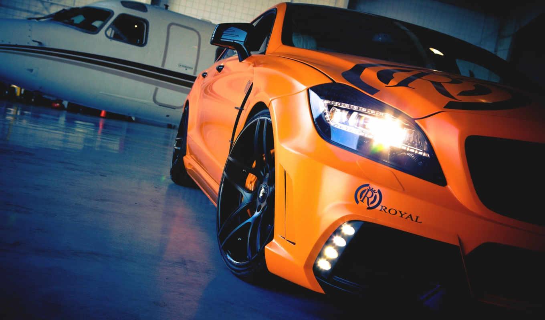 авто, машины, мерседес, самолёт, тюнинг, оранжевый, mercedes, широкоформатные,