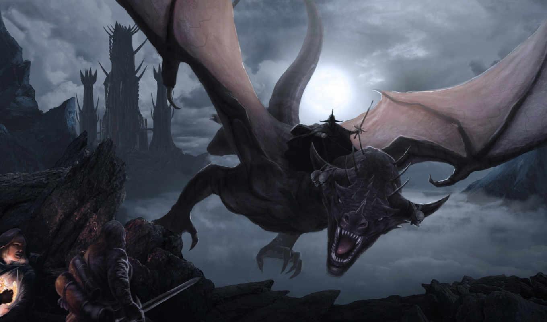 колец, фантастика, назгул, moonlight, dark, властелин, верхом, туман, виверне, скалы, путники, статуэтка, властелина, dragon,