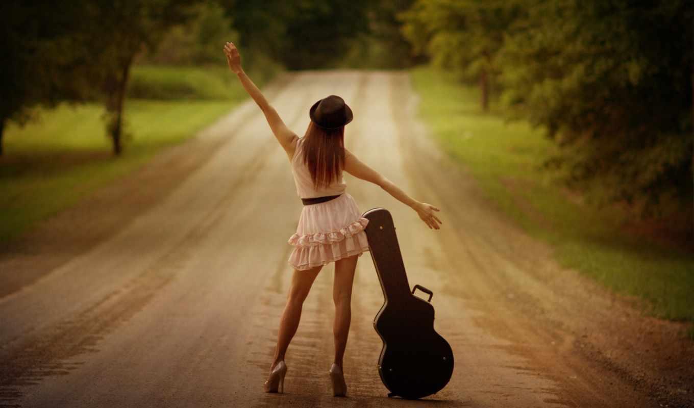 девушка, спинои, шляпа, гитара, нечто,