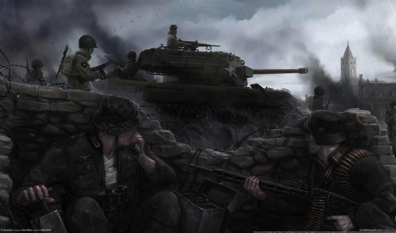 heroes, war, generals, немцы, американцы, танк, дым, высоком,