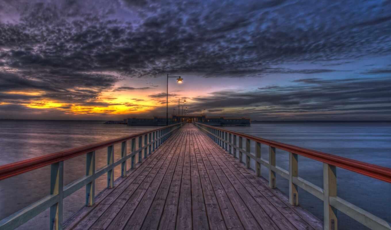 закат, marine, небо, под, star, pier, trek, borg, wooden, boardwalk