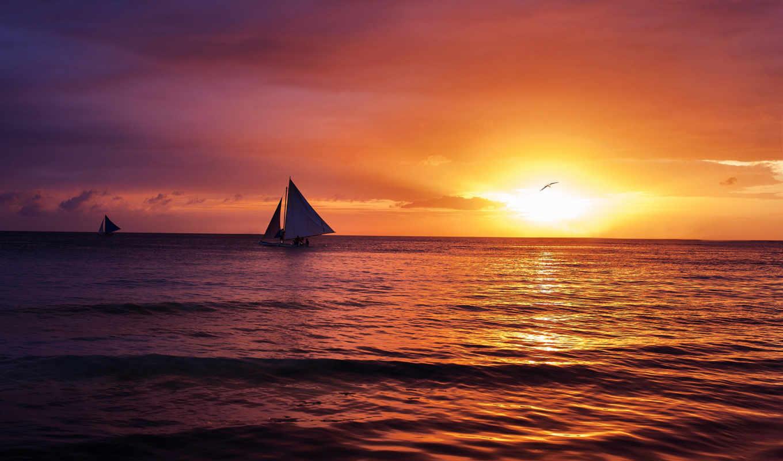 закат, океан, тихий, боракай, восхитительный, уголками, прекрасными, природы, boracay, pacific, amazing, download, rar, солнце, природа,