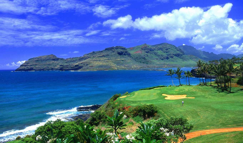 hawaii, где, гавайские, views, картинку, golf, landscape,
