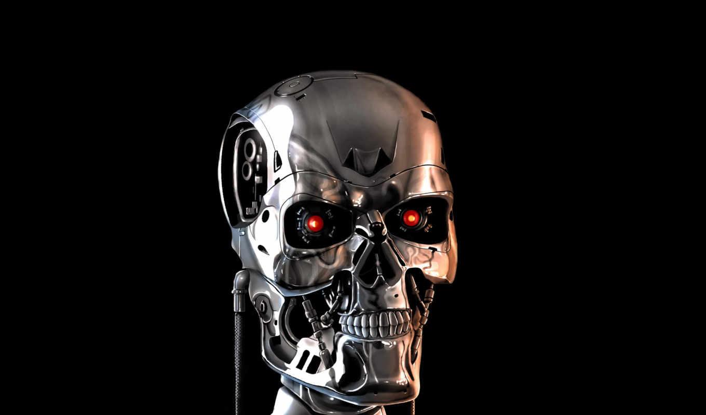 терминатор, robot, череп, остов, нов,
