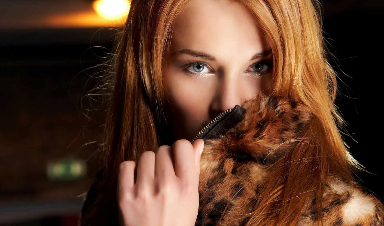рыжая, девушка, взгляд, мех, девушки, глаза,