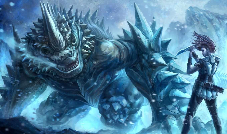 monster, fantasy, нож, битва,