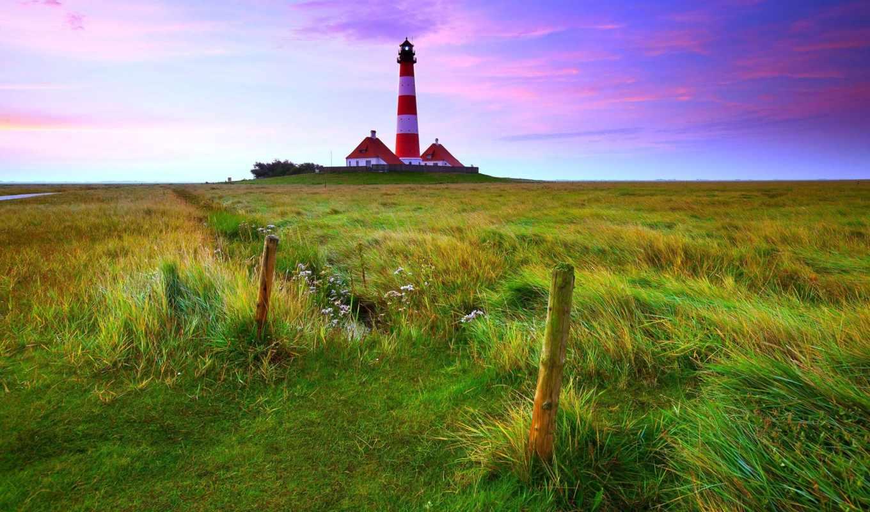 lighthouse, закат, westerheversand, desktop, landscape, free, high,