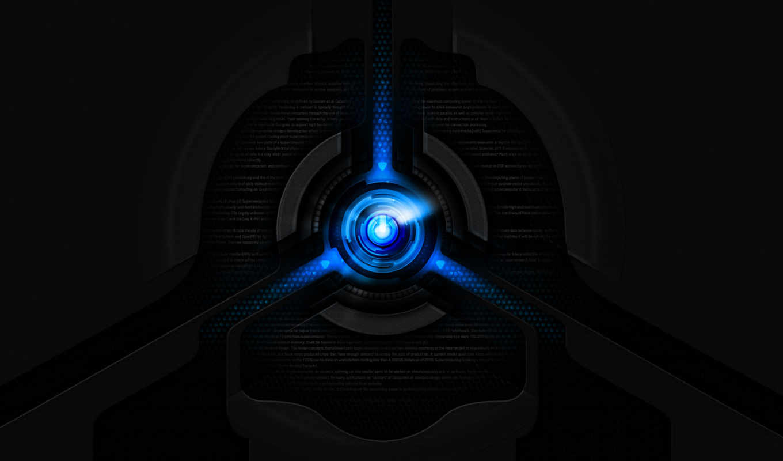 tech, power, on, подсветка, blue