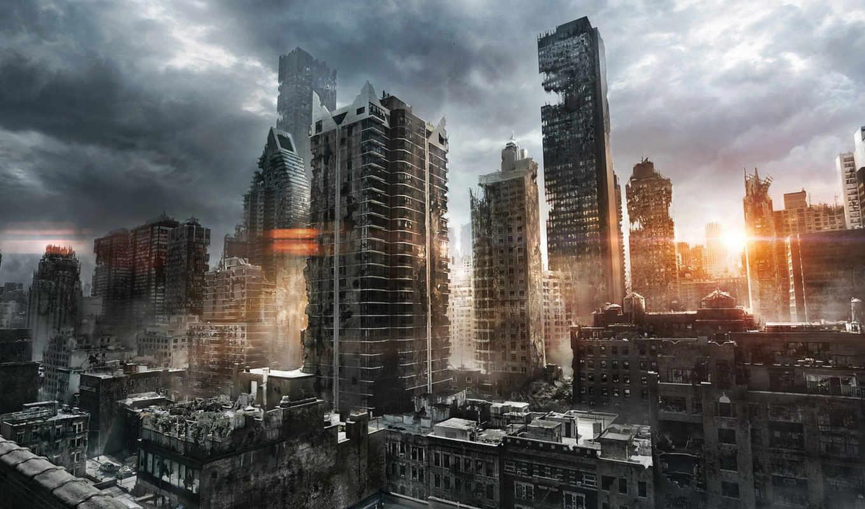 руины, город, арт, солнце, постапокалиптика, утро, свет, jenovah,