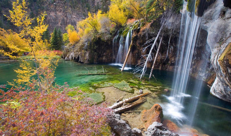 деревья, озеро, скалы, водопад, hanging, картинка,