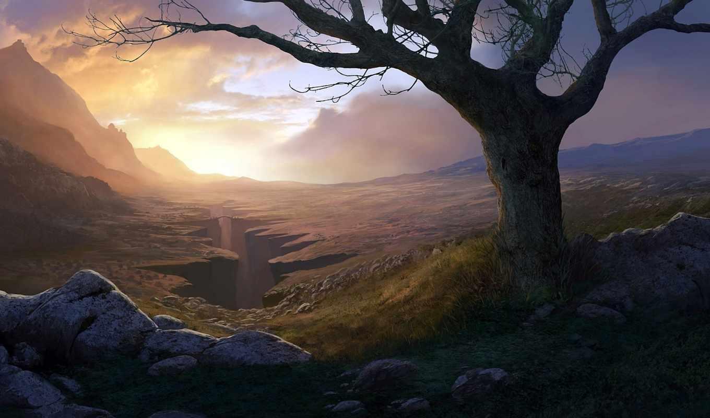 дерево, арт, ущелье, каньон, andreas, rocha, скалы, горы, картинка, мост,