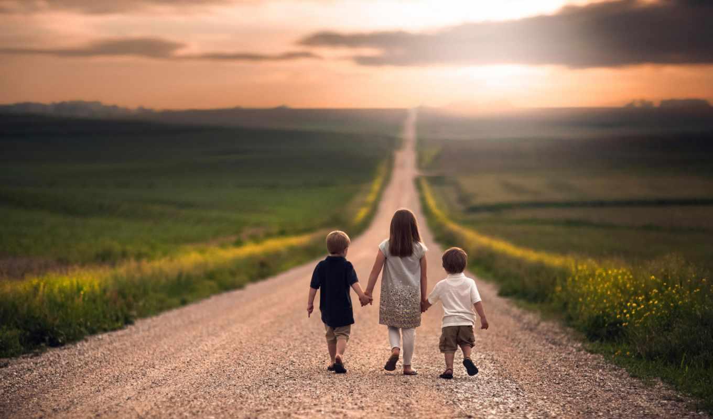 дети, дорога, поле, цветы, закат