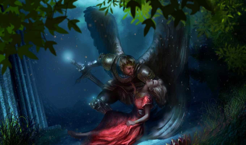 фэнтези, king, крылья, меч, рыцарь, лес, сумерки, убийство, queen,