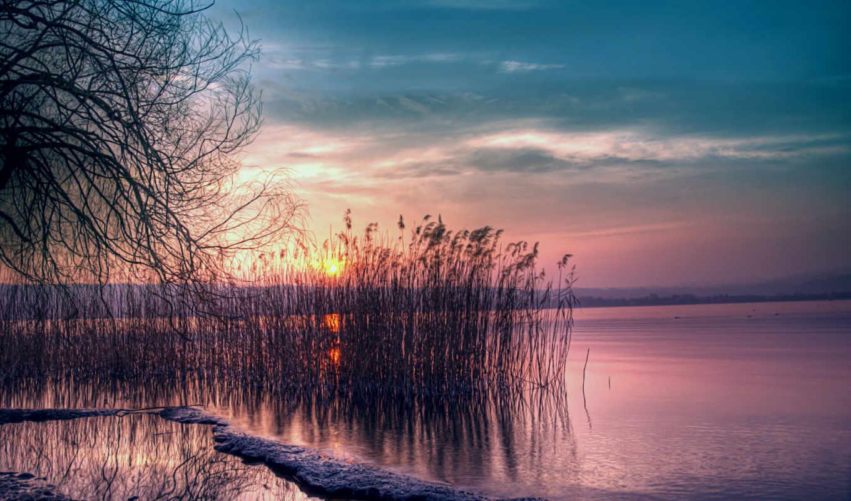 zakat, розовый, вечер, сумерки, солнце, небо, синее, ozero,