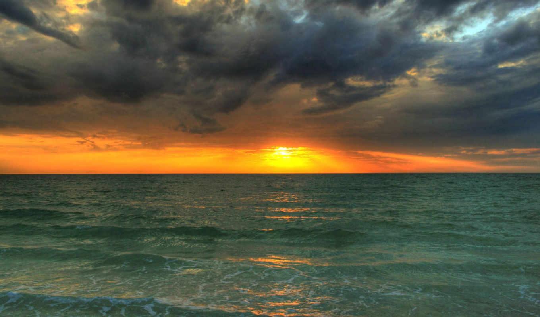 закат, море, ноутбук, планшетный, волны, упадок, телефон, небо, солнца,